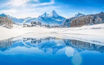 озеро, горы, природа, зима, пейзаж, альпы