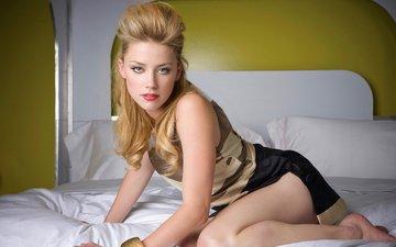 eyes, girl, blonde, model, feet, actress, bracelet, photoshoot, long hair, in bed, amber heard