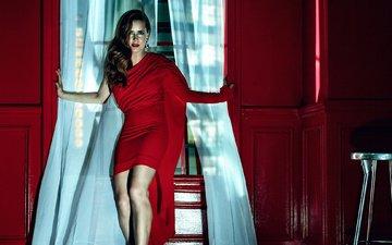 девушка, взгляд, модель, волосы, лицо, актриса, красное платье, эми адамс