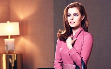 девушка, взгляд, волосы, лицо, актриса, эми адамс, розовое платье
