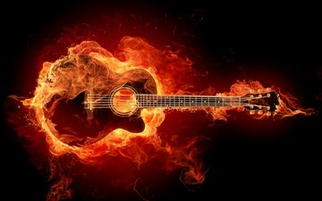 guitar, fire, strings, rock, guitar riff