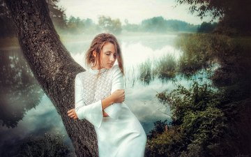 lake, nature, tree, girl, model, hair, face, white dress, closed eyes, andrew oksamyt