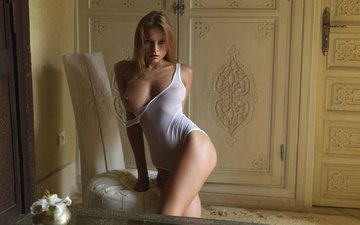 girl, the door, chair, naked, bedroom, exposed