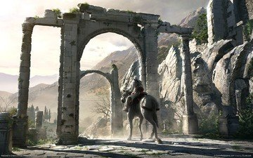 horse, mountains, warrior, rider, gothic, arch, knight, the middle ages