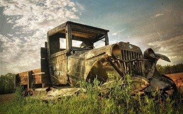 стиль, поле, ретро, грузовик, фары, ретроавто, старость, шеврале