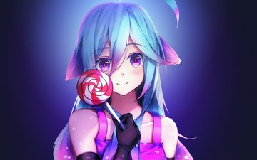 girl, look, anime, hair, face, lollipop, ., tafime6, showsave