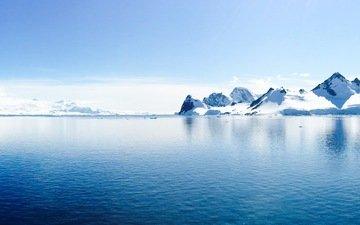 небо, скалы, снег, природа, океан, антарктида