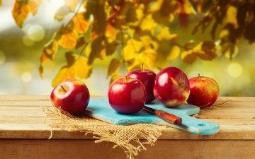 листья, доска, фрукты, яблоки, осень, плоды, нож