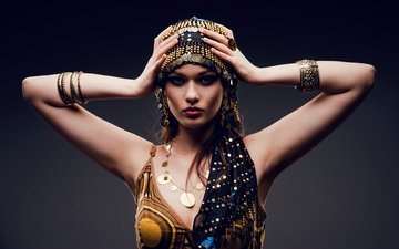 decoration, style, girl, look, model, face, costume, makeup, east