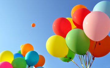небо, шары, разноцветные, воздушные шарики