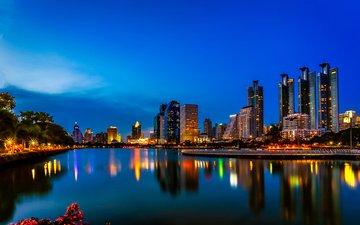 night, lights, reflection, the city, thailand, bangkok