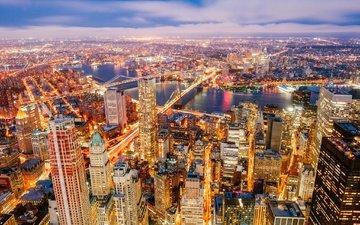 river, panorama, skyscrapers, night city, new york, building, bridges, manhattan, the hudson river, battery park city