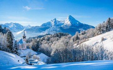 небо, деревья, горы, снег, природа, лес, храм, зима, вершины, церковь, германия, альпы, бавария