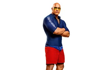 glasses, actor, the film, white background, dwayne johnson, baywatch