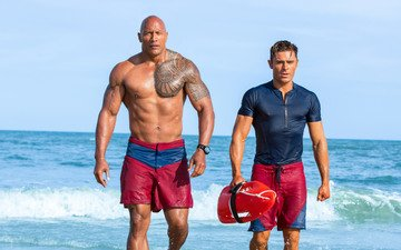sea, beach, the film, actors, dwayne johnson, zac efron, baywatch