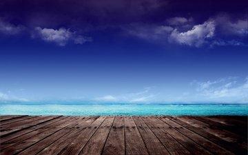 небо, облака, море, горизонт, деревянная поверхность