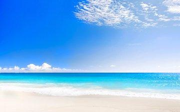 небо, облака, море, пляж, горизонт