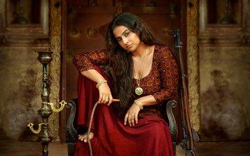 девушка, брюнетка, взгляд, фильм, волосы, лицо, актриса, болливуд, видья балан, vidya balan, begum jaan