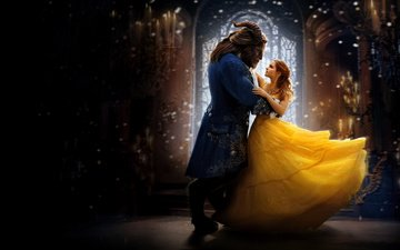 the film, dance, emma watson, yellow dress, beauty and the beast, belle