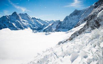 горы, снег, зима, швейцария, лёд, альпы, горный хребет, вершина горы