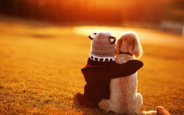 dog, girl, child, friendship, friends, bokeh
