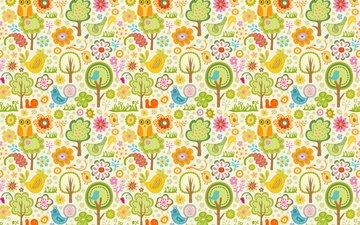 flowers, trees, wallpaper, design, pattern, birds, owls