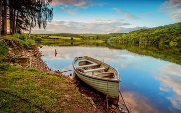 the sky, clouds, lake, river, shore, reflection, landscape, boat