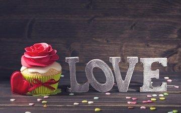 сердечко, сердечки, сладкое, десерт, кекс, декорация, влюбленная, brithday cake, украшение роза