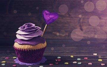 фон, сердечко, сердечки, сладкое, десерт, кекс, декор, крем, brithday cake, украшение роза