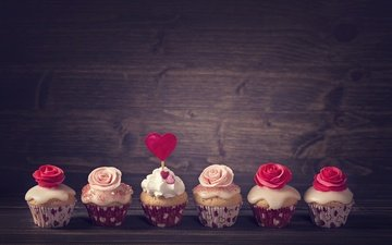 roses, food, heart, decoration, cakes, cupcakes, cream