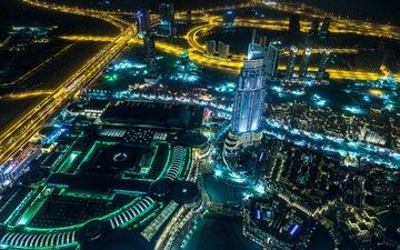 night, lights, the city, skyscrapers, dubai, uae, burj khalifa