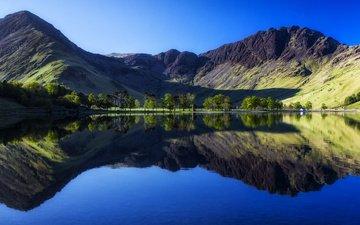 деревья, вода, озеро, горы, берег, отражение, англия, домик, buttermere lake