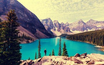lake, mountains, nature, forest, canada, banff national park, moraine