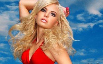 небо, облака, девушка, блондинка, портрет, модель, макияж, вырез, декольте