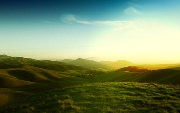 трава, вечер, солнце, холмы, закат, поля, калифорния, луга