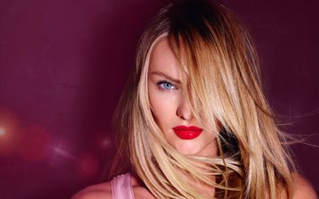 girl, blonde, look, model, hair, face, makeup, red lipstick, candice swanepoel