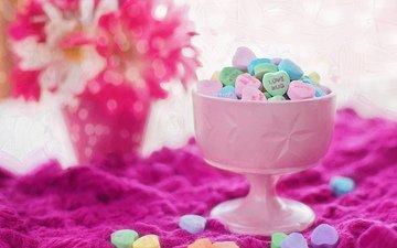 конфеты, любовь, сердца, сердечки, сладкое, десерт, вазочка