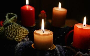 candles, flame, fire, candle, knitting