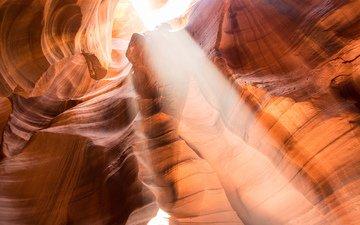 лучи, каньон, каньон антилопы, аризона, romain guy, солнечный свет