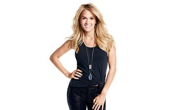 pose, blonde, smile, music, white background, singer, makeup, hairstyle, figure, mike, pants, country, james macari, carrie underwood