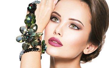 рука, девушка, взгляд, бусы, макияж, украшение, бижутерия