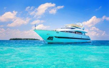 море, яхта, остров