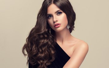 девушка, поза, модель, волосы, макияж, прическа, плечо, фотосессия, сережки
