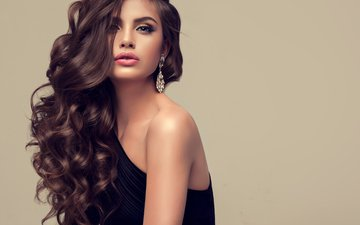 girl, pose, model, hair, makeup, hairstyle, shoulder, decoration, photoshoot, earrings