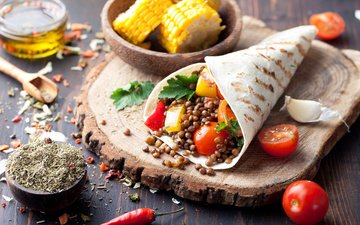 food, corn, vegetables, tomatoes, spices, mexican, pellet, tortilla