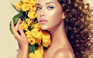 girl, look, model, hair, bouquet, face, tulips, hands, blue eyes, makeup, yellow, curls