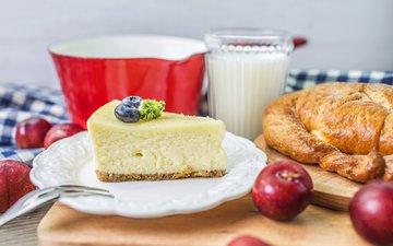 кофе, завтрак, молоко, выпечка, булочка, 458, запеканка