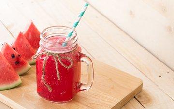напиток, лёд, арбуз, кружка, трубочка, сок, дольки арбуза