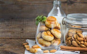 орехи, корица, молоко, печенье, выпечка, миндаль