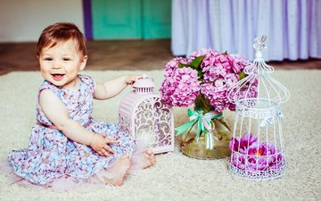 flowers, dress, smile, girl, baby